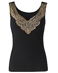 Joanna Hope Applique Trim Jersey Top