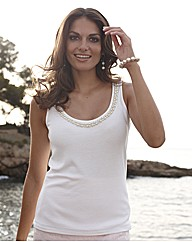 Joanna Hope Pearl Trim Jersey Vest Top