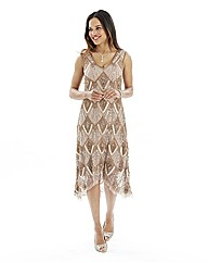 Petite Joanna Hope Beaded Mesh Dress