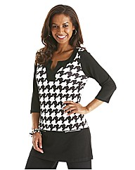Joanna Hope Houndstooth Print Tunic