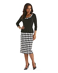 Joanna Hope Peplum Houndstooth Dress