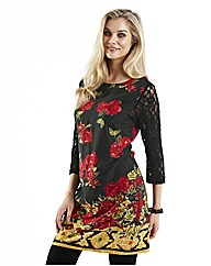 Joanna Hope Lace Sleeve Print Tunic