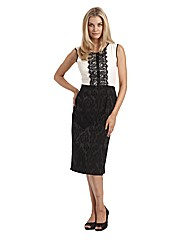 Joanna Hope Lace Trim Jacquard Dress