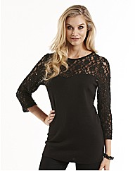 Joanna Hope Lace Trim Jersey Top