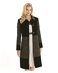 Joanna Hope Velvet Trim Jacquard Coat