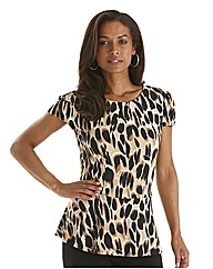 Joanna Hope Print Jersey Peplum Top
