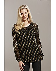 Joanna Hope Paisley Metallic Tunic
