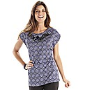 Joanna Hope Jewel Trim Print Top