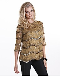 Joanna Hope Sequin Trim Print Top
