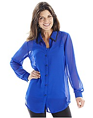 Joanna Hope Blouse with PU Trim Collar