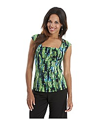 Joanna Hope Print Ruched Jersey Top