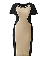 Joanna Hope Necklace Trim Dress