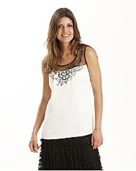 Joanna Hope Lace Trim Satin Top