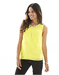 Joanna Hope Pleat Front Chiffon Top