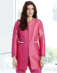Joanna Hope Longline Pearl Trim Jacket