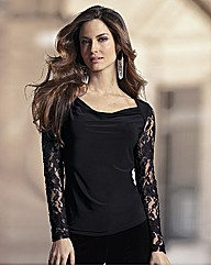 Together Lace Sleeve Jersey Top