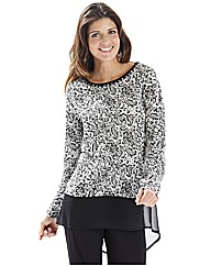 Joanna Hope Lace Print Jersey Top