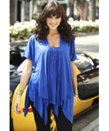 Asymmetric Roll Up Sleeve Shrug Cardigan