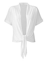 Asymmetric Roll-Up Sleeve Shrug Cardigan
