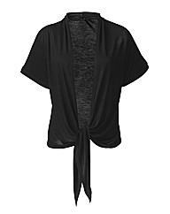 Asymmetric Roll Up Sleeve Shrug Cardigan