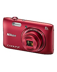 Nikon Coolpix S3600 Camera - Red