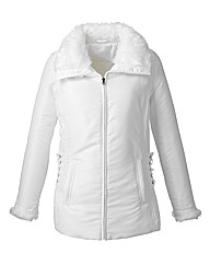 Lightly Padded Jacket With Fur Trim