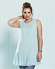 And Abigail Pleat Trim Sleeveless Blouse