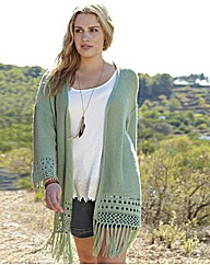 Angel Ribbons Lucy Fringe Trim Cardigan