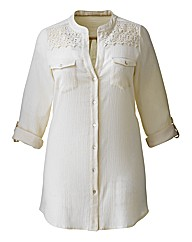 And Abigail Lace Trim Crinkle Shirt