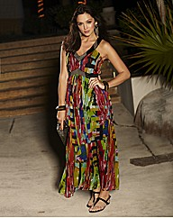 Sequin & Pearls Bead Trim Maxi Dress