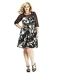 Lovedrobe Lace Sleeve Print Dress