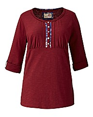 Spirit & Sands Button Neck Jersey Top