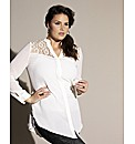 Luxe Metallic Lace Trim Blouse