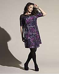 Luxe Print Lace Trim Dress