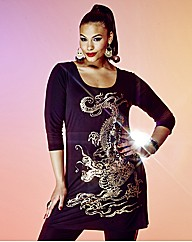 Grazia Oriental Dragon Print Top