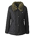 Voi Quilted Jacket with Fur Trim