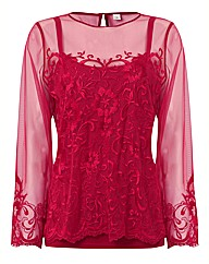 Anise Mesh Sleeve Embroided Top