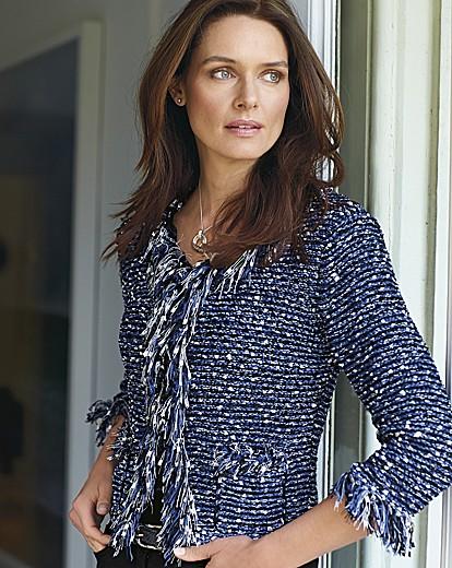 Olsen Multi Knitted Fringe Trim Jacket