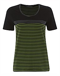 Betty Barclay Stripe & Faux Leather Top