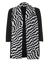 Basler Jersey Cardigan With Printed Trim