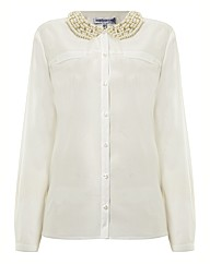 Pearl Collar Silky Blouse