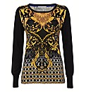 Passport Baroque Print Fine Knit Jumper