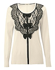 Chesca Lace Trim Knit Cardigan