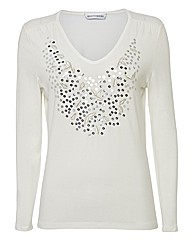 Anise Sequinned Jersey Top