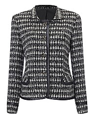 Anise Tweed Jacket With Satin Trim