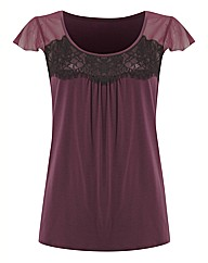 Anise Chiffon Contrast Lace Trim Top