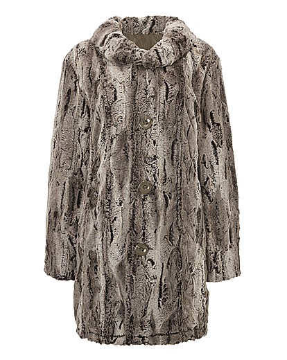 Lebek Reversible Faux Fur Long Coat