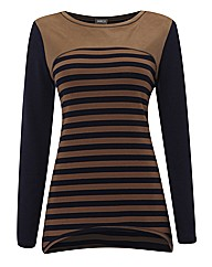 Gelco Stripe & Mock Suede Stripe Top