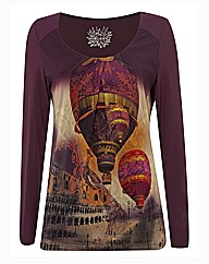 Olsen Air Balloon Print Top