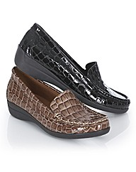 Riva Mock Croc Print Wedge Loafers